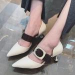 SH_1509 (pre-order) รองเท้าคัทชู พร้อมสายคาด, 2017, Shoes, Beige-Brown-Green, Size 35-39