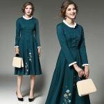 DR_9079 (pre-order) ชุด Maxi Dress สีเขียว ผสมงานปัก, 2017, Dress, Green, S-M-L-XL-XXL
