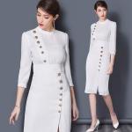 DR_9125 (pre-order) ชุดเดรสทำงานสีขาว แบรนด์แท้, 2017, Dress, White, S-M-L-XL