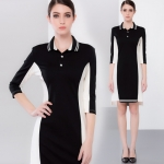 DR_9126 (pre-order) ชุดเดรสสีดำแถบขาว, 2017, Dress, Black, S-M