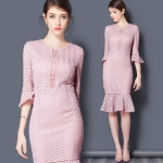 DR_9123 (pre-order) ชุดเดรสทำงานออกงานสีชมพู แท้ 100%, 2017, Dress, Pink, S-M-L-XL-XXL