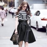DR_9040 (pre-order) ชุดเดรสดำ+เสื้อสั้นยุโรป แท้ 100%, 2017, Dress +Top (2pieces), Black