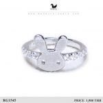 CZ Diamond Sterling Silver Ring with Rhodium Plated : RG1545 Rabbit