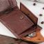 กระเป๋าสตางค์ผู้ชาย หนังแท้ ทรงสั้น Shidai Piroyce - สีน้ำตาล thumbnail 4