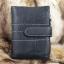 กระเป๋าสตางค์ผู้ชาย หนังแท้ ทรงตั้ง รุ่น GUBINTU Line Button Zip - สีดำ thumbnail 1