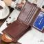 กระเป๋าสตางค์ผู้ชาย หนังแท้ ทรงสั้น Shidai Piroyce - สีน้ำตาล thumbnail 3