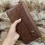 กระเป๋าสตางค์ผู้ชาย ทรงยาว มีสายจับ หนังเรียบ ลายน้ำ - สีน้ำตาล thumbnail 7