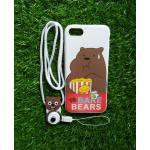 TPU moomin พร้อมสาย iphone7/iphone8(ใช้เคสตัวเดียวกัน) ลายหมีน้ำตาลสีขาว