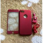 PC พร้อมกระจกสี(มีสายห้อยคอ) iphone7/iphone8(ใช้เคสตัวเดียวกัน) สีแดง