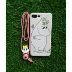 TPU moomin พร้อมสาย iphone7 plus/iphone8 plus(ใช้เคสตัวเดียวกัน) ลายม้าขาวสีชมพู