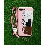 TPU moomin พร้อมสาย iphone7 plus/iphone8 plus(ใช้เคสตัวเดียวกัน) ลายหมีพวกพร้องสีชมพู