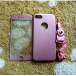 PC พร้อมกระจกสี(มีสายห้อยคอ) iphone7/iphone8(ใช้เคสตัวเดียวกัน) สีชมพู