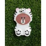 ซิลิโคนหมีน้ำตาลใส่เสื้อ iphone6/6s สีขาว