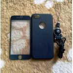 PC พร้อมกระจกสี(มีสายห้อยคอ) iphone7/iphone8(ใช้เคสตัวเดียวกัน) สีดำ