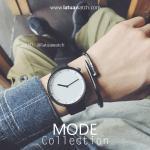 นาฬิกาข้อมือ รุ่น MODE หน้าปัดขาว สายดำ