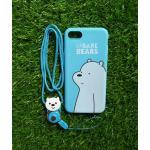 TPU moomin พร้อมสาย iphone7 /iphone8(ใช้เคสตัวเดียวกัน)ลายหมีขาวสีฟ้า