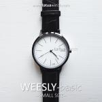 นาฬิกาข้อมือ หน้าปัดเล็ก รุ่น WEESLY-BASIC นาฬิกาผู้หญิง หน้าปัดขาว สายหนังสีดำ