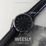 นาฬิกาข้อมือ หน้าปัดเล็ก รุ่น WEESLY นาฬิกาผู้หญิง สีดำล้วน