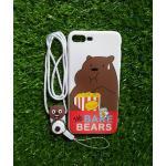 TPU moomin พร้อมสาย iphone7 plus/iphone8 plus(ใช้เคสตัวเดียวกัน) ลายหมีน้ำตาลสีขาว