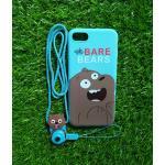 TPU moomin พร้อมสาย iphone7/iphone8(ใช้เคสตัวเดียวกัน) ลายหมีน้ำตาลสีฟ้า