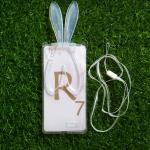 TPU หูกระต่าย พับหูตั้งได้ มีสายคล้องคอ R7/R7 lite สีขาว