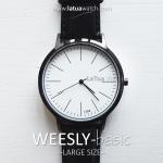 นาฬิกาข้อมือ หน้าปัดใหญ่ รุ่น WEESLY-BASIC หน้าปัดขาว สายหนังสีดำ
