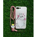 TPU moomin พร้อมสาย iphone7 plus/iphone8 plus(ใช้เคสตัวเดียวกัน) ลายม้าขาว/หัวใจสีชมพู