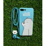 TPU moomin พร้อมสาย iphone7 plus/iphone8 plus(ใช้เคสตัวเดียวกัน) ลายหมีขาวสีฟ้า