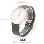 นาฬิกาข้อมือ รุ่น TOMI หน้าปัดขาว สายสีเทา