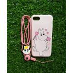 TPU moomin พร้อมสาย iphone7 /iphone8(ใช้เคสตัวเดียวกัน)ลายม้าขาว/หัวใจสีชมพู