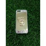 Tpu โครเมี่ยมประดับเพชรหัวท้าย(มีแหวน) iPhone5/5s/5se สีทอง