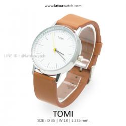 นาฬิกาข้อมือ รุ่น TOMI หน้าปัดขาว สายสีน้ำตาลอ่อน