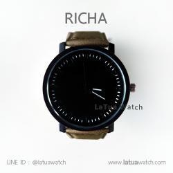 นาฬิกาข้อมือรุ่น Richa หน้าปัดดำ-สายหนังสีน้ำตาล