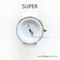 นาฬิกาข้อมือ รุ่น Super หน้าปัดสีขาว นาฬิกาสายยาง สีขาว