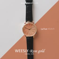 นาฬิกาข้อมือ หน้าปัดเล็ก สายหนังสีดำ รุ่น WEESLY-Rose Gold