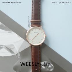 นาฬิกาข้อมือ รุ่น WEESLY-SIMM สีน้ำตาล