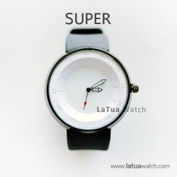นาฬิกาข้อมือ รุ่น Super หน้าปัดสีขาว นาฬิกาสายยาง สีดำ