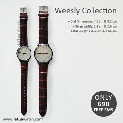 นาฬิกาข้อมือ หน้าปัดเล็ก คู่หน้าปัดใหญ่ สายหนังสีน้ำตาล รุ่น WEESLY