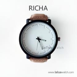 นาฬิกาข้อมือรุ่น Richa หน้าปัดขาว-สายหนังสีน้ำตาลเรียบ