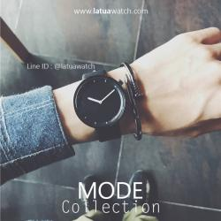 นาฬิกาข้อมือ รุ่น MODE หน้าปัดดำ สายดำ
