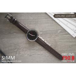 นาฬิกาข้อมือสายหนังแท้ รุ่น SIMM หน้าปัดดำ-สายหนังสีน้ำตาลเข้ม