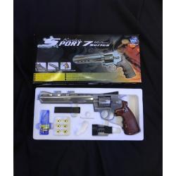 New.WinGun ปืนลูกโม่ .357 Magnum 8 นิ้ว Sport 703 Co2 Revolver sv สีเงิน น้ำหนัก (กรัม)900 ความยาว (mm.)300 วัสดุFull Metal ระบบ/รองรับแก๊สCo2 ความแรง (FPS)5xx ด้วยลูก 0.20g ระบบ BlowBack- Hop-upFixed ระบบการยิงSemi-Autometic ระบบ SAFEมี Magazine บรรจุ6 น