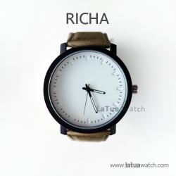 นาฬิกาข้อมือรุ่น Richa หน้าปัดขาว-สายหนังสีน้ำตาล(TEXTURE)