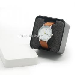 กล่องนาฬิกา พลาสติกอย่างดี คลาสสิค ขาว-ดำ