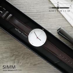 นาฬิกาข้อมือสายหนังแท้ รุ่น SIMM หน้าปัดขาว-สายหนังสีน้ำตาลเข้ม
