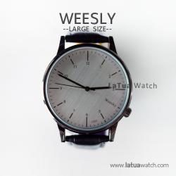 นาฬิกาข้อมือ หน้าปัดใหญ่ สายหนังสีดำ รุ่น WEESLY นาฬิกาผู้ชาย