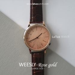 นาฬิกาข้อมือ หน้าปัดใหญ่ สายหนังสีน้ำตาล รุ่น WEESLY-Rose Gold