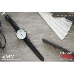 นาฬิกาข้อมือสายหนังแท้ รุ่น SIMM หน้าปัดขาว-สายหนังสีดำ
