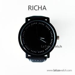 นาฬิกาข้อมือรุ่น Richa หน้าปัดดำ-สายหนังสีดำ