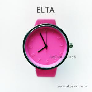 นาฬิกาข้อมือรุ่น ELTA หน้าปัดชมพู-สายสีชมพู